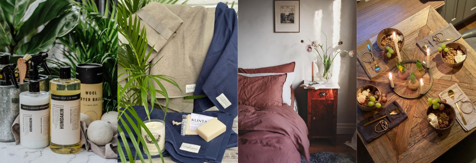 økologiske og veganske tekstiler og vaskemidler til hjemmet
