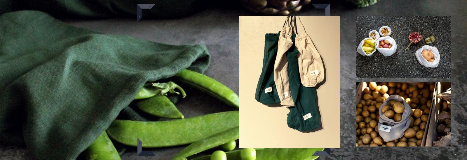 Økologisk oppbevaringsposer for mat, reduser plast.