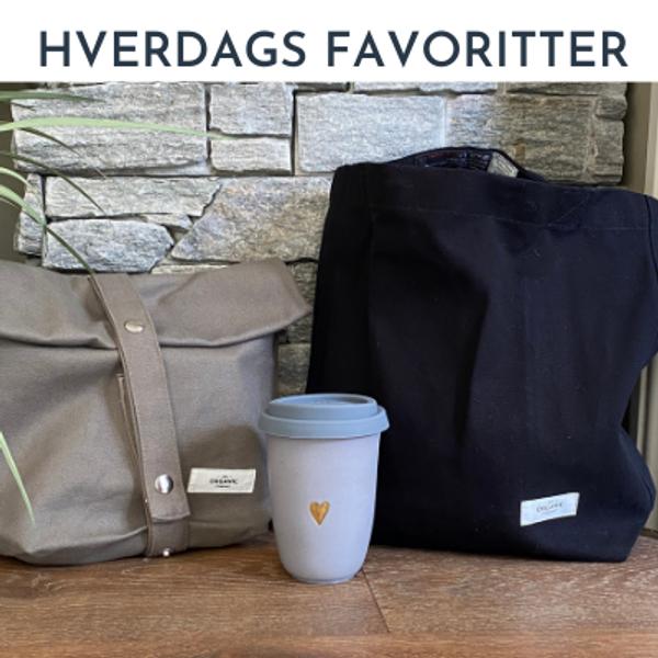 Hverdags produkter som fort blir favoritter. Veske, lunchbag, kopper.