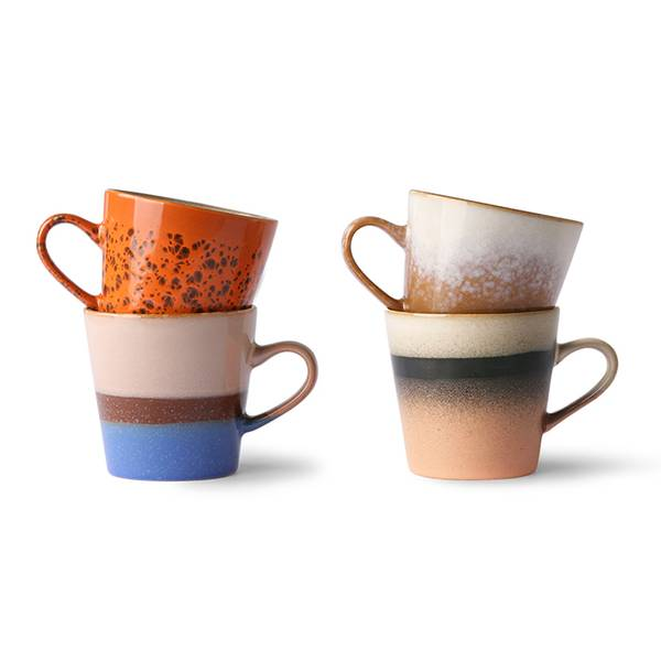 HKliving - 70s ceramics: kopper set (4 stk), americano