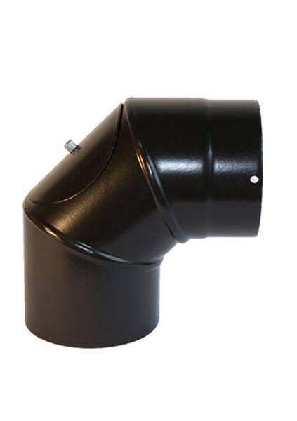 Ø125mm Røykrør 90 grader  m/ luke tredelt sort emalje