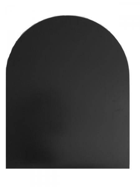 Underlagsplate stål m/buet front  sort D90 x B70cm