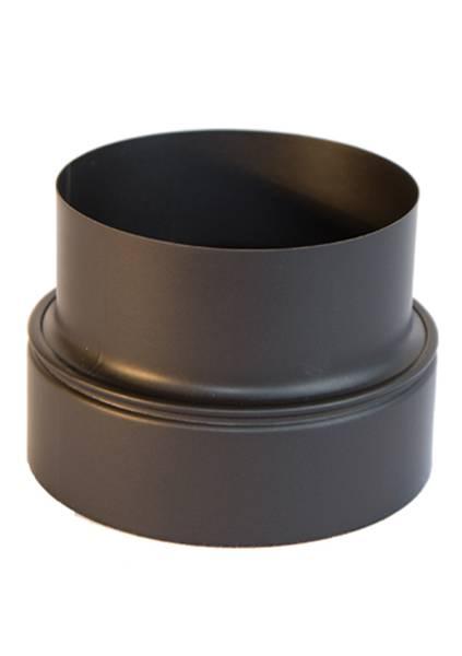 Røkrør overgang  iv 127 - uv175mm sort