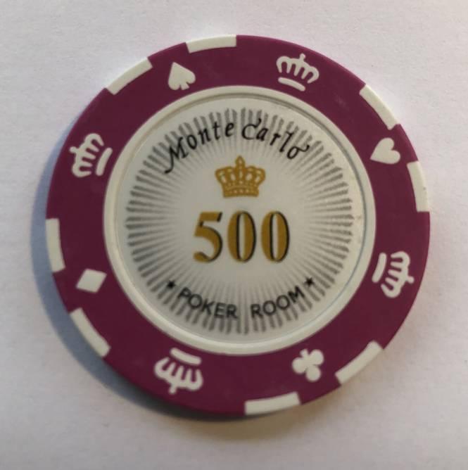 Bilde av Monte Carlo 14g clay sjetonger verdi 500 25 stk.