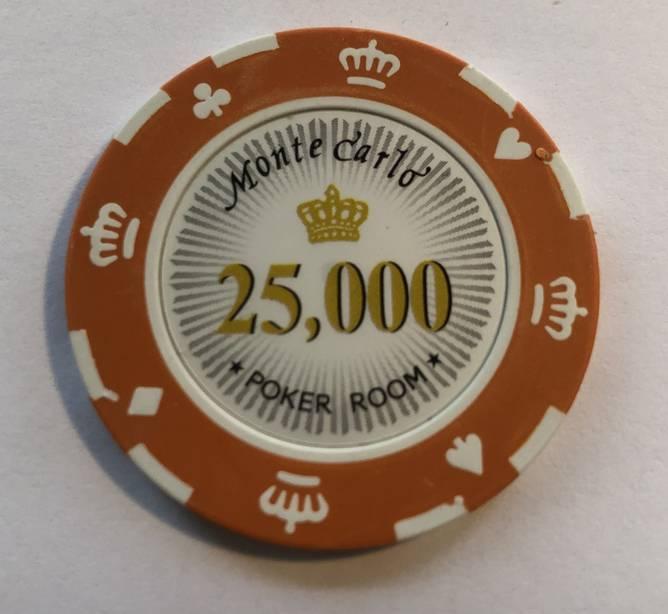 Bilde av Monte Carlo 14g clay sjetonger verdi 25000 25