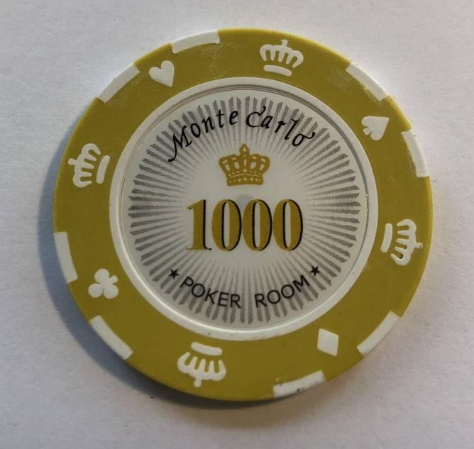 Bilde av Monte Carlo 14g clay sjetonger verdi 1000 25 stk.