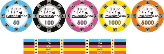 Bilde av 500 pokerutstyr.no keramikk sjetonger