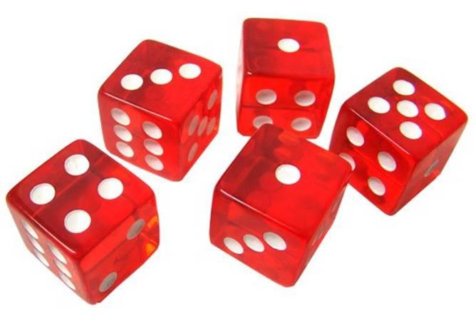 Bilde av 5 stk. røde casino terninger