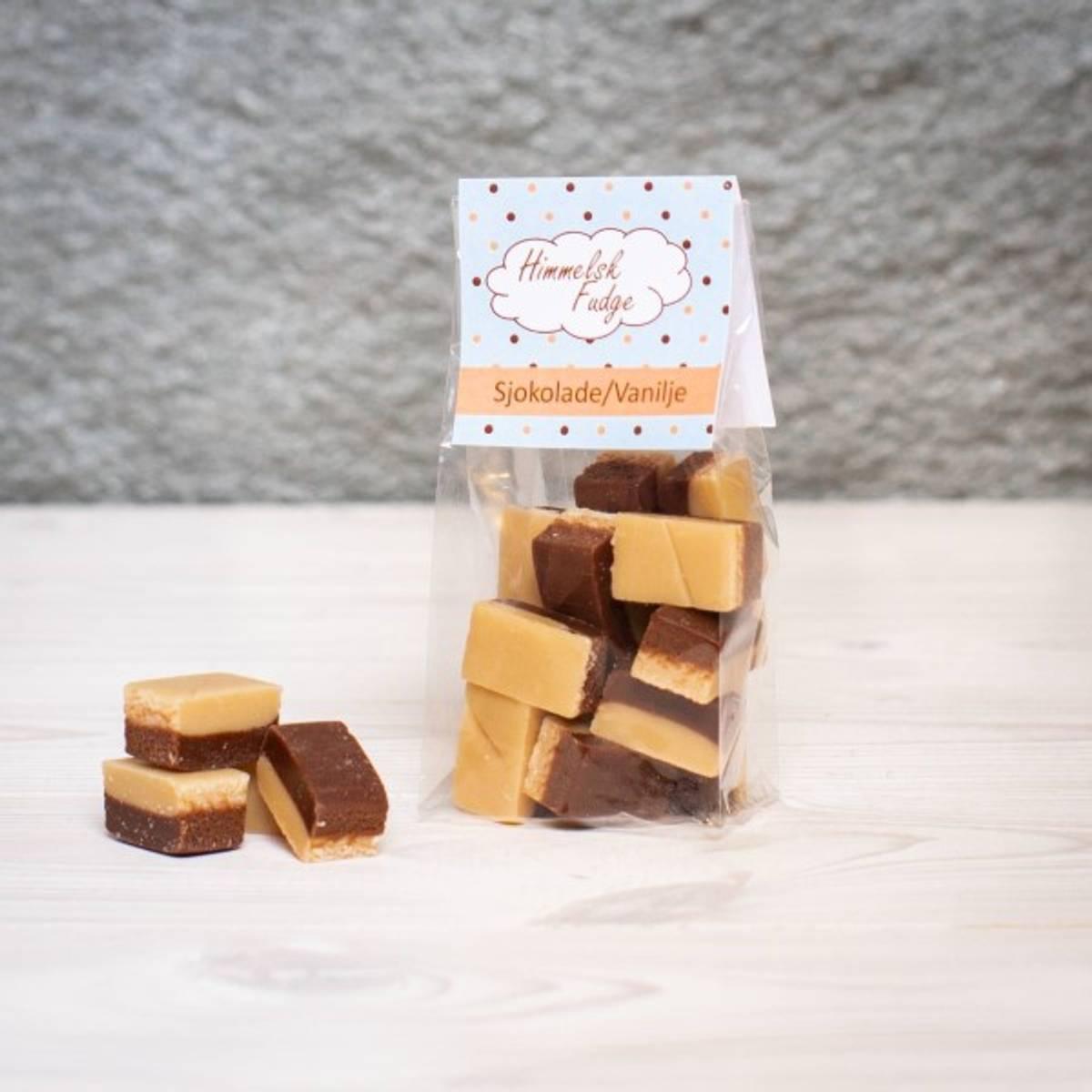 Sjokolade/Vanilje Fudge 100g BF: 31.07.2021 Datovare