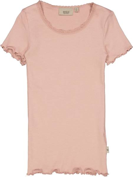 Bilde av Wheat Rib lace t-skjorte - misty rose