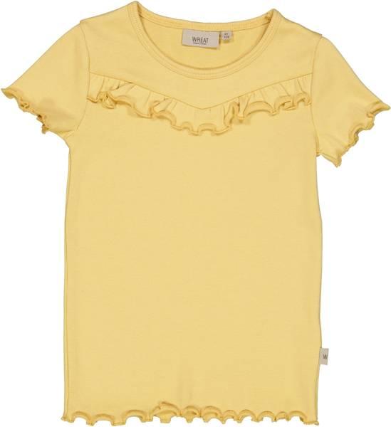 Bilde av Wheat Rib ruffle t-skjorte - sahara sun