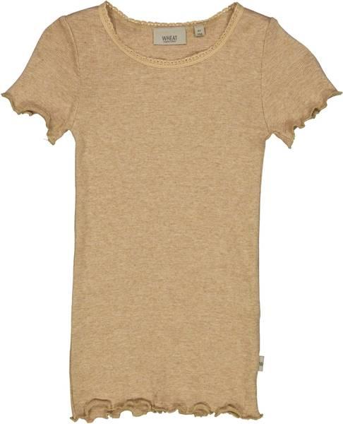 Bilde av Wheat Rib lace t-skjorte - sand melange