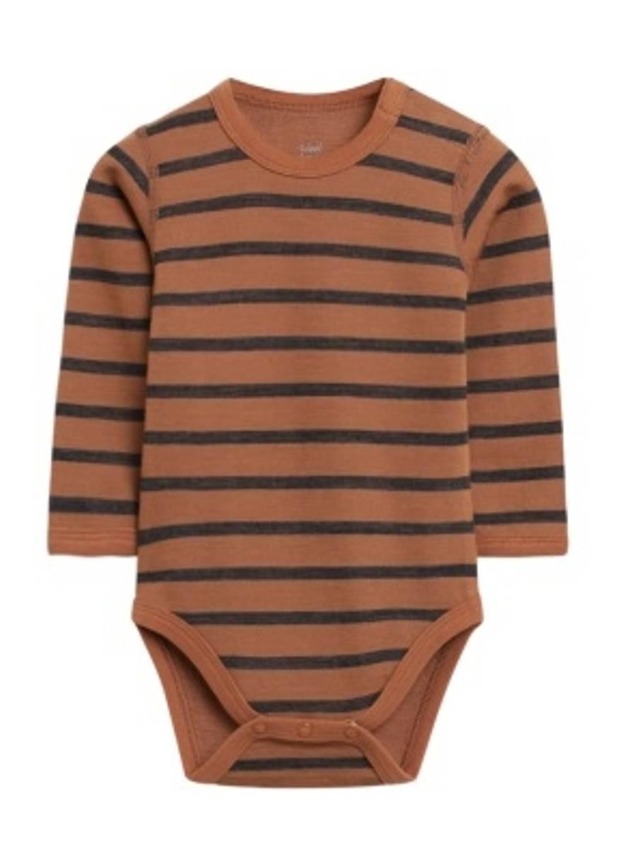 Hust & Claire Baloo stripet ull/bambus body - cognac