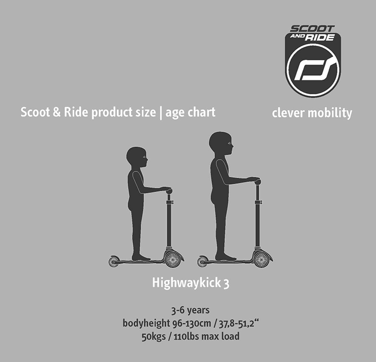 Scoot & Ride Highwaykick 3 sparkesykkel - ash