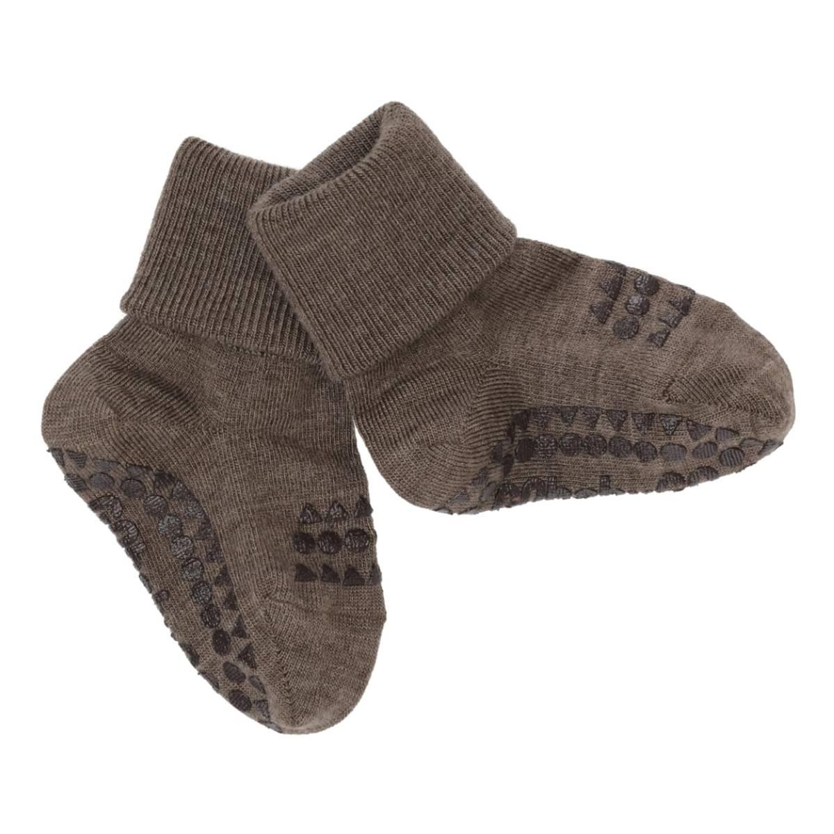 GoBabyGo antiskli sokker ull - brun
