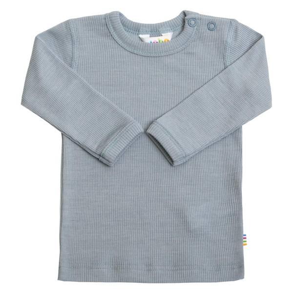 Bilde av Joha Rib Ull/Silke trøye mini - denim blå