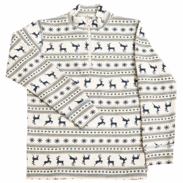 Bilde av Joha Jumping Deer ull trøye med zip kids - blå