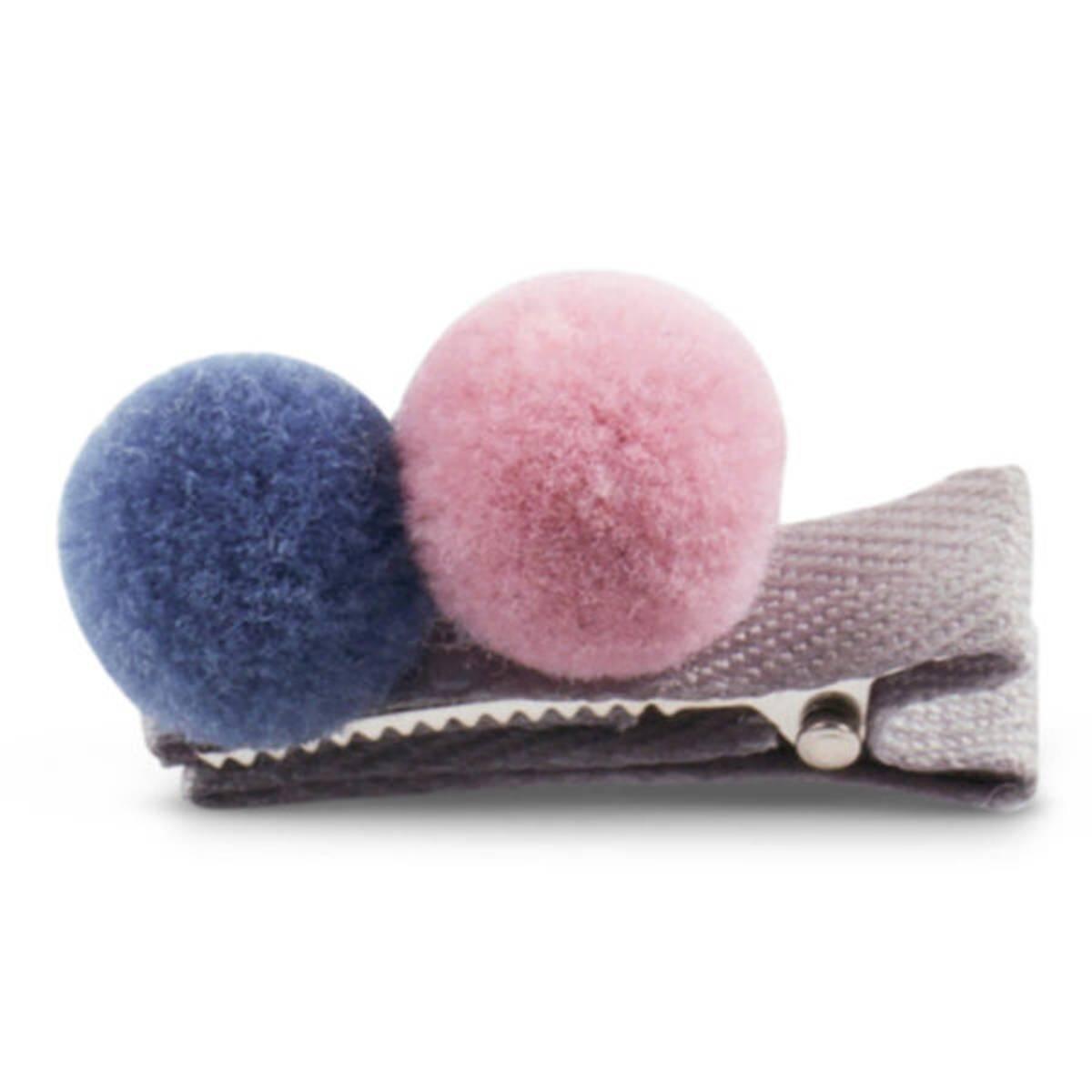 Lillelam hårspenne 2 pompom- blå og rosa