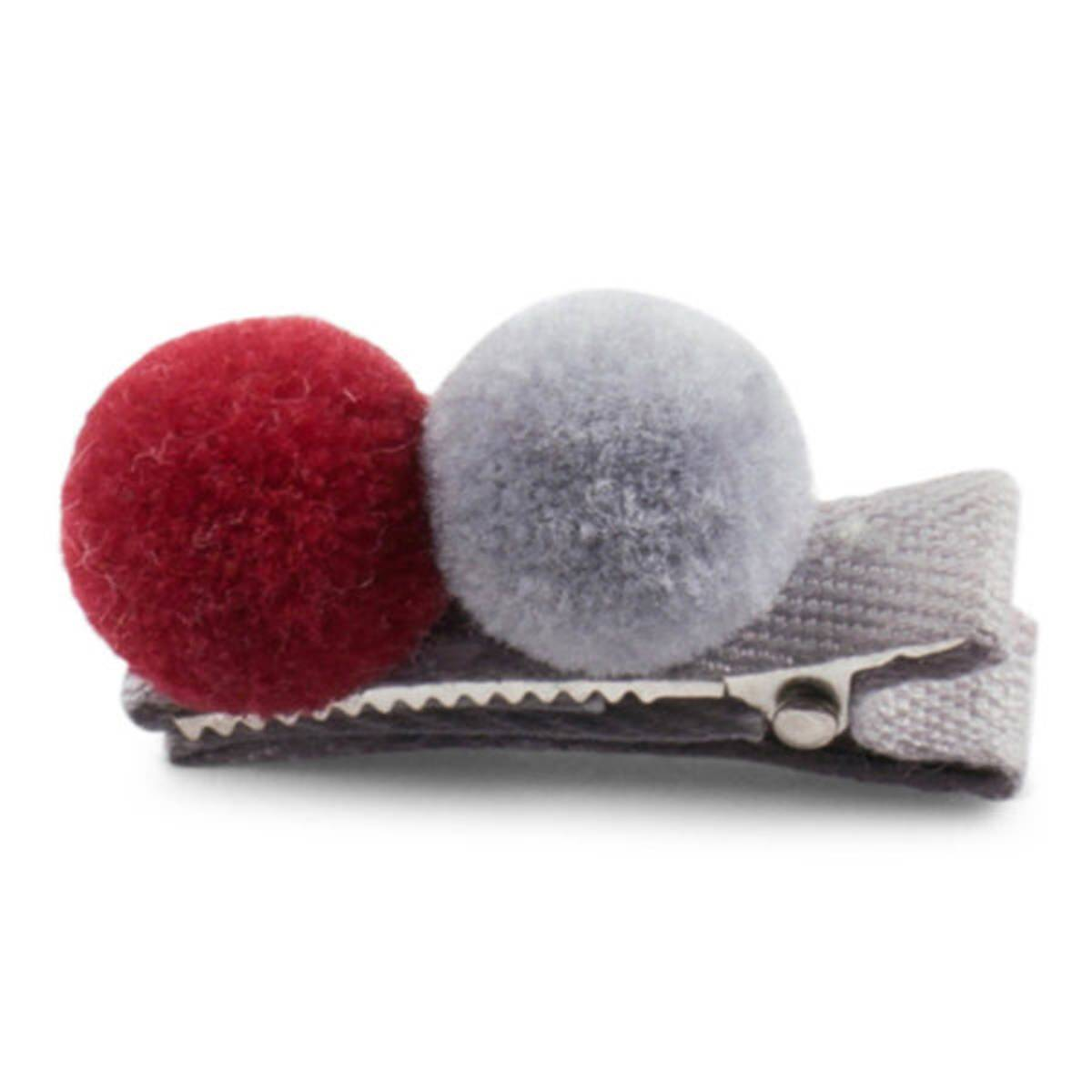 Lillelam hårspenne 2 pompom- rød og grå
