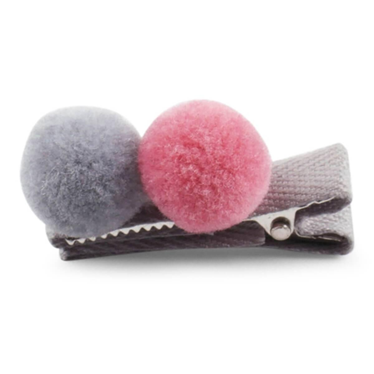 Lillelam hårspenne 2 pompom- rosa og grå