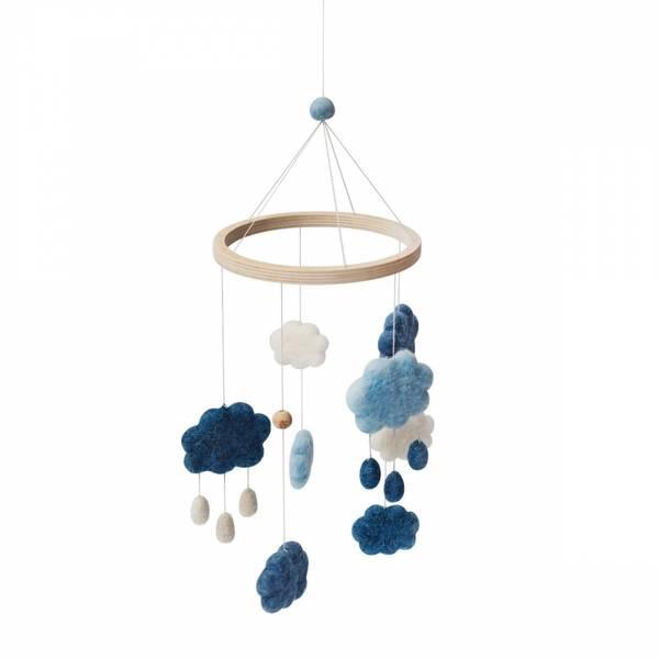 Bilde av Sebra uro i filt skyer - denim blue