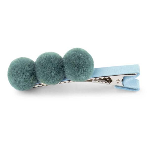 Bilde av Lillelam hårspenne 3 pompoms- sjøgrønn