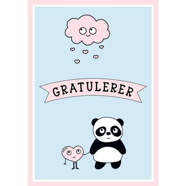 Bilde av Mini kort - panda bursdagskort