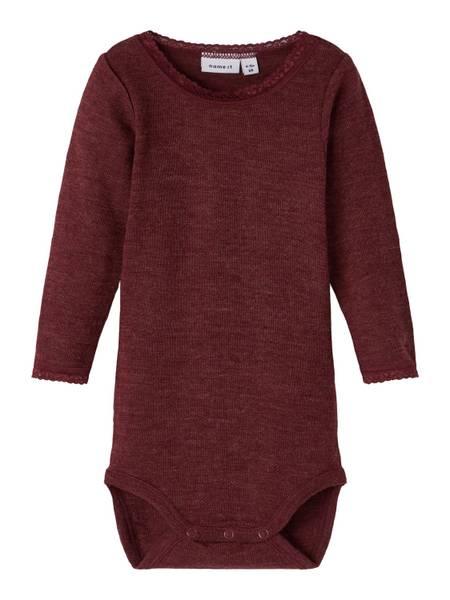 Bilde av Name It Wang Wool needle body baby - red mahogany