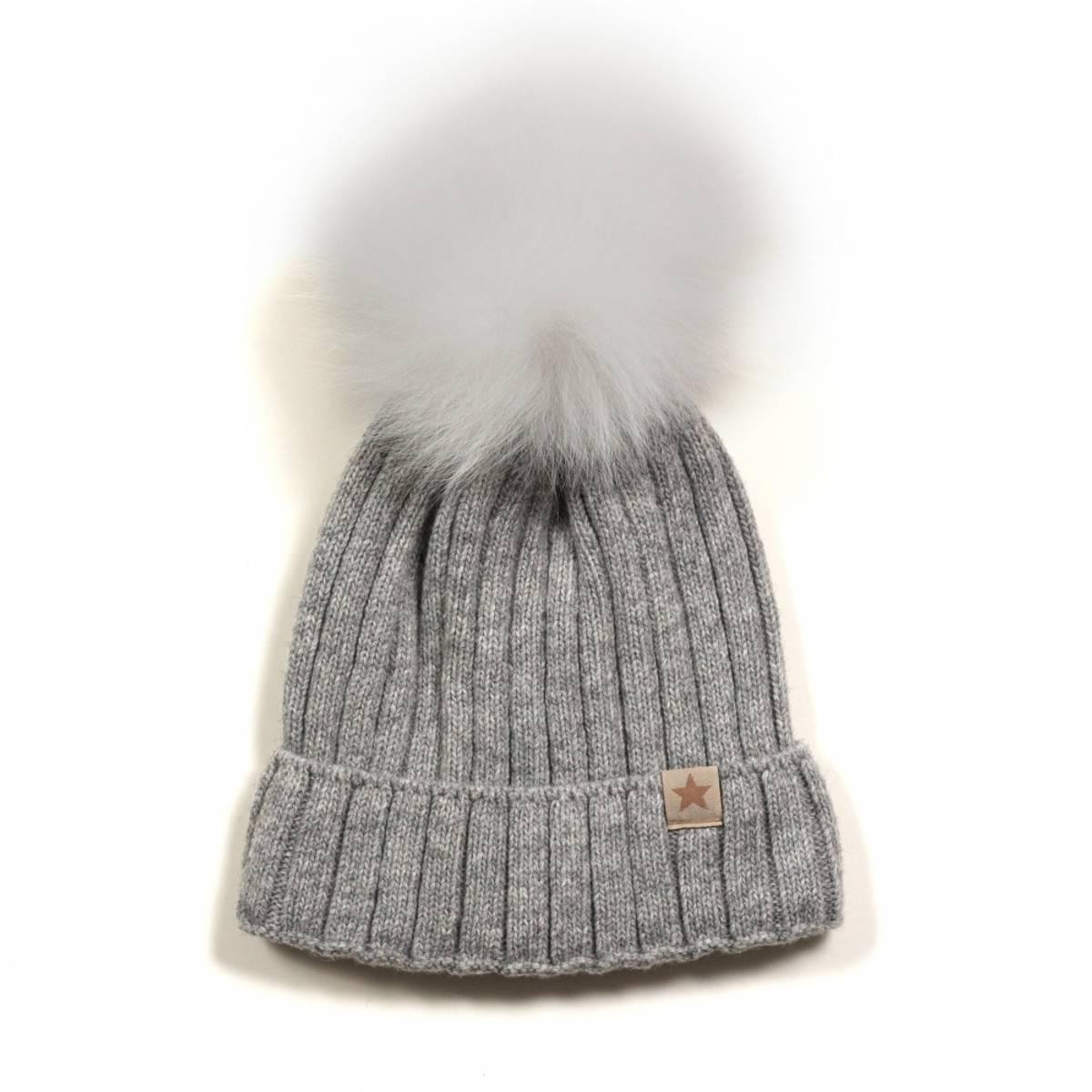 HUTTELiHUT warmy strikkelue m/ alpakka dusk - light grey