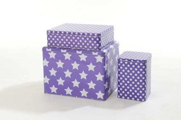 Bilde av Smallstuff Metal Box with stars, 3 sizes purple