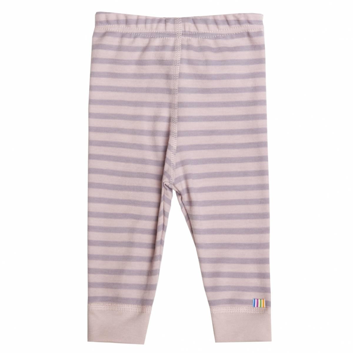 Joha Striper Ull/bomull leggings - rosa