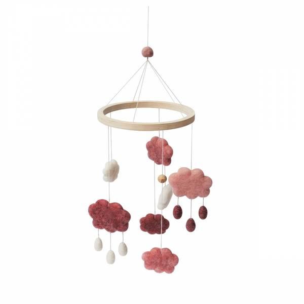 Bilde av Sebra uro i filt skyer - cotton candy pink