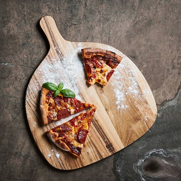 Raw Teak pizzabrett - 46x37,8x1,5