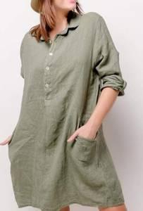 Bilde av Skjortekjole oliven