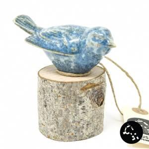 Bilde av Keramikk-fugl på stubbe krystalisert blå
