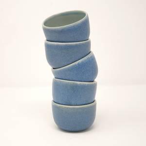 Bilde av Espressokrus/ telysholder i blå glasur