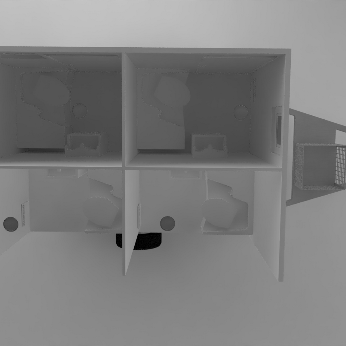 Toalettvogn med 4 toaletter, uten vann og avløp