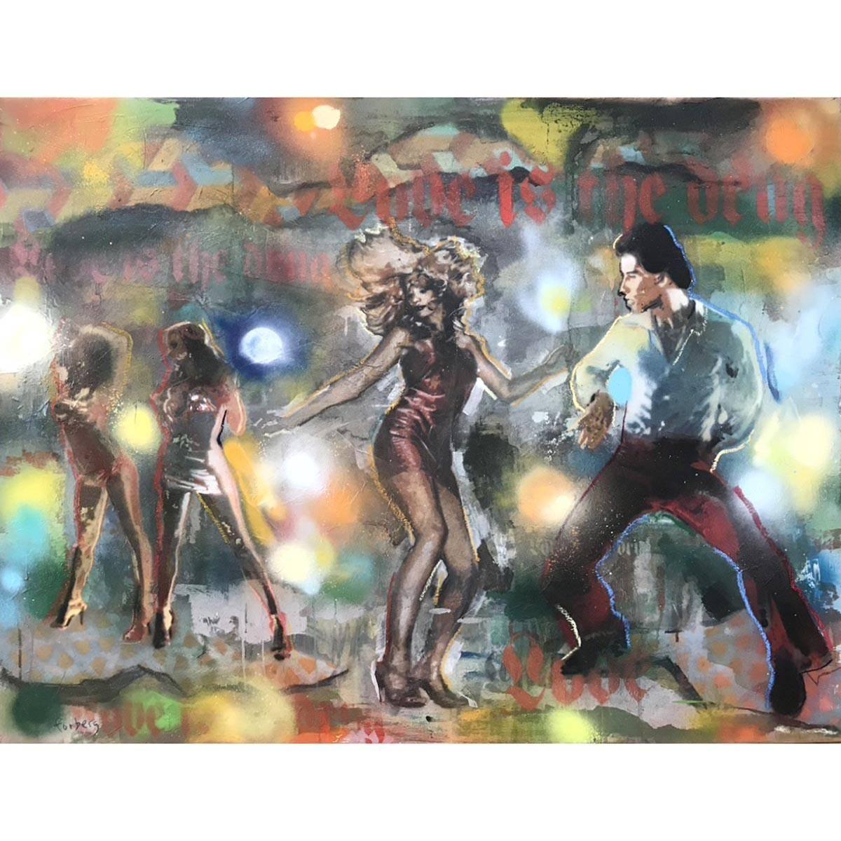 Love is the drug, 120x90 maleri spray/stencil
