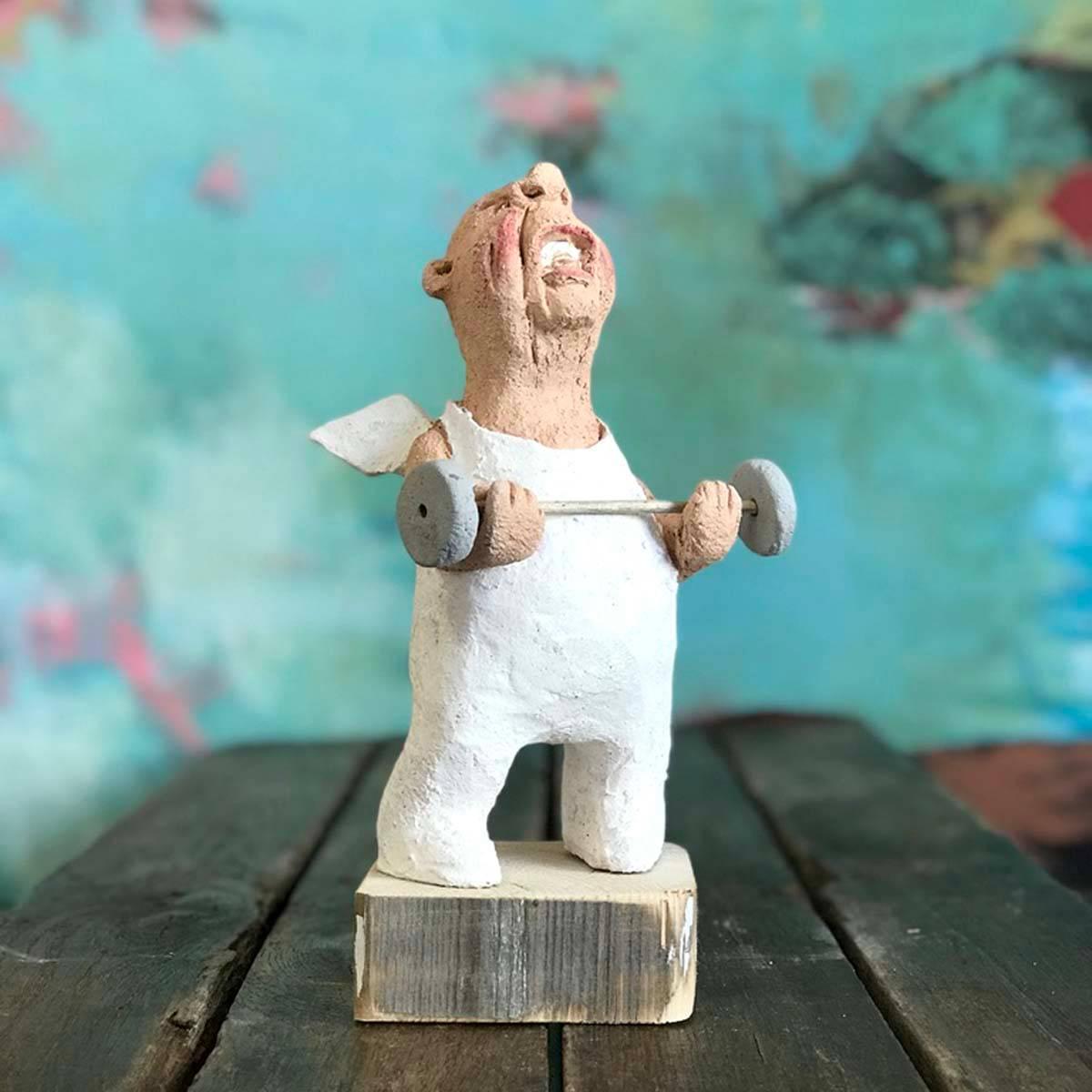 Himmel så sterk, 24 cm skulptur keramikk