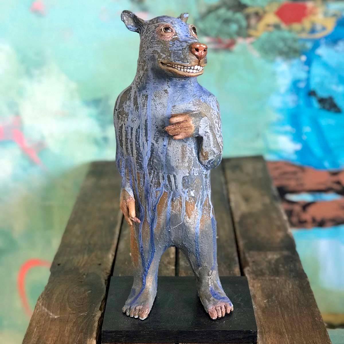 Romeo, skulptur keramikk blå 40 cm