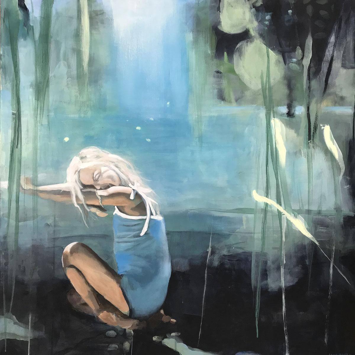 Kjølig sommerluft mot bare armer, 90x90 maleri