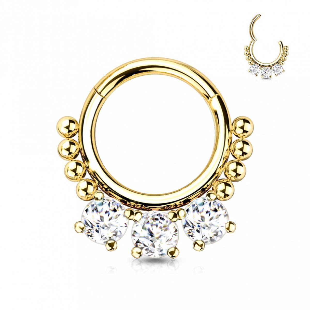 Jane Front Facing Hinged Ring Gold