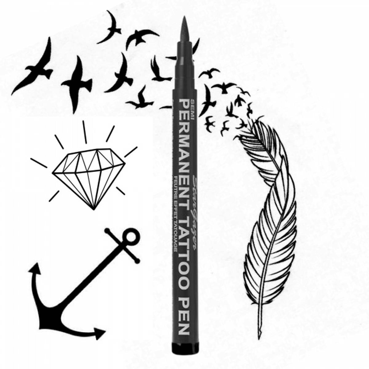 Semi Tattoo Pen Raven Black 01