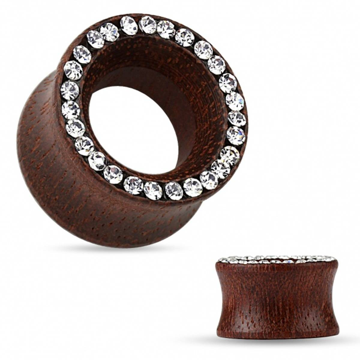 Rose Wood Double Flared Tunnel with Crystal Paved Rim