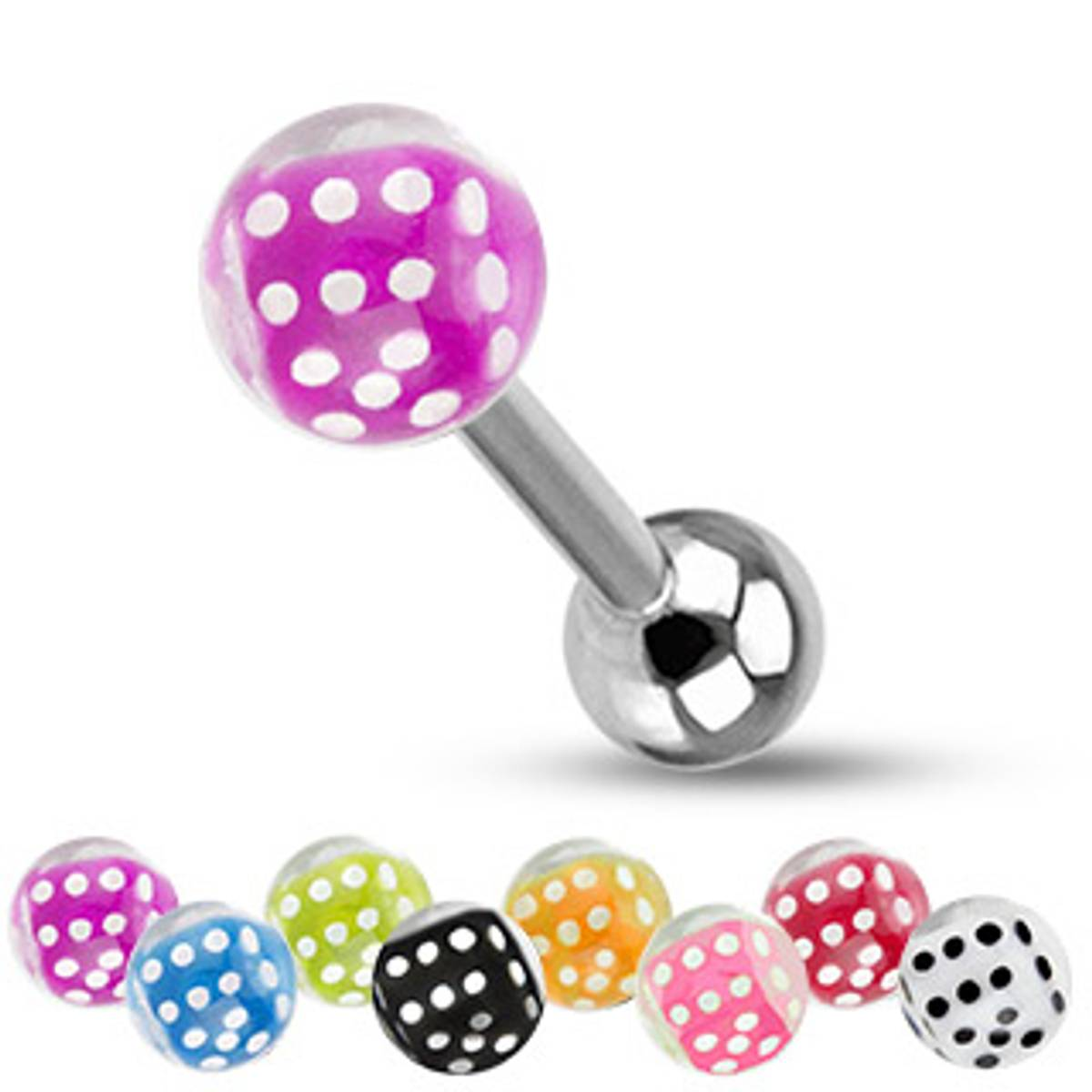 Acrylic barbell dice in bubble ball