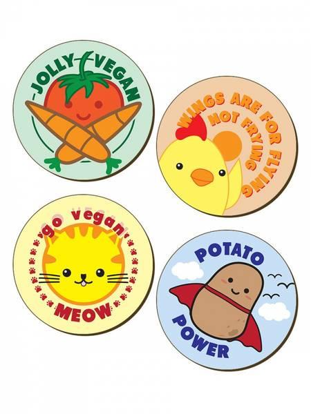 Bilde av  4 Piece  Jolly Vegan Coaster