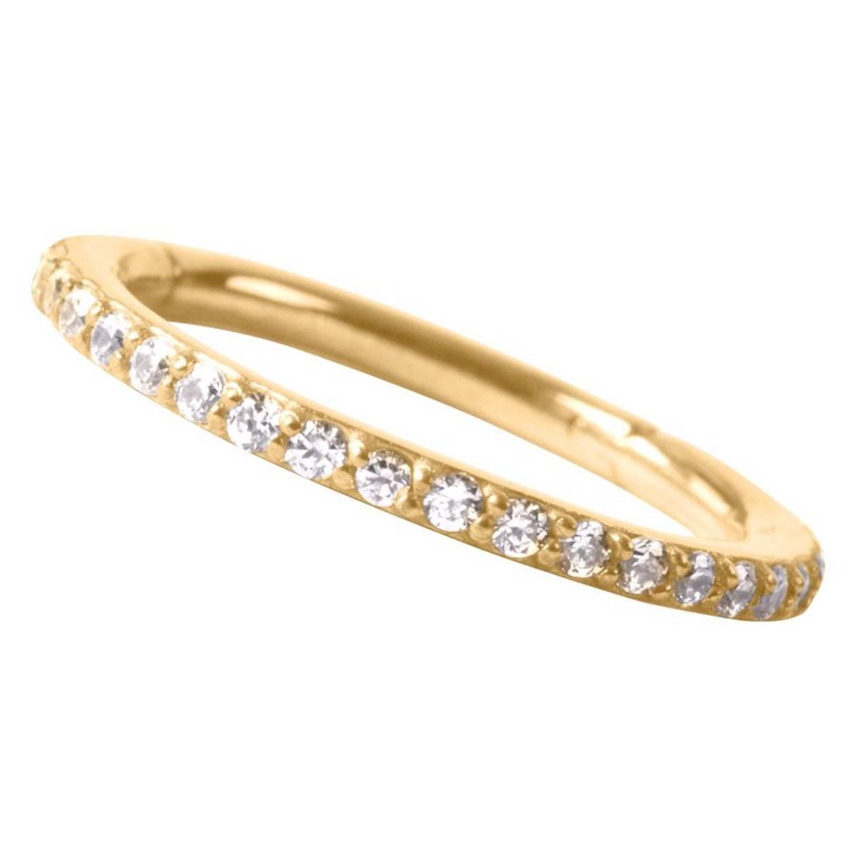 Pave set  10 mm Swarovski conch ring gold