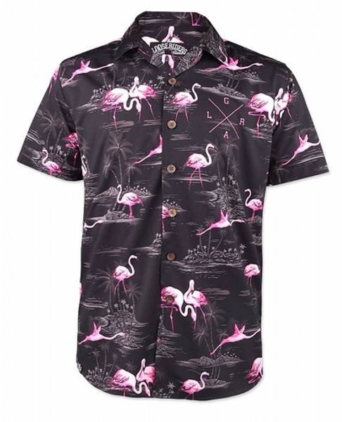 Bilde av Bermuda Black Flamingo Shirt