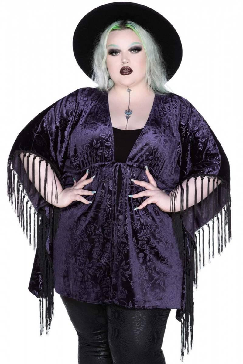 Fang Velvet Kimono Plum