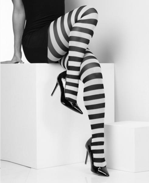 Bilde av Striped White Tights